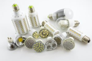 LED lamps GU10 and E27 with a different chip technology also co